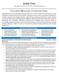 Construction Project Manager Resume Examples Amazing Facilities Manager Resume Example Construction Projects