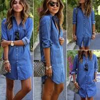<b>Women Summer Denim Dress</b> Half Sleeve Dress Ladies Jeans ...