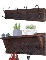 shelf rustic coat hooks wall mounted