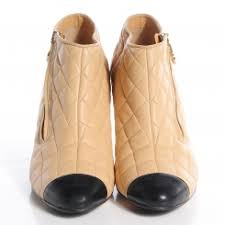 chanel quilted boots. chanel leather quilted cap toe boots 39.5 beige black. pinch/zoom chanel