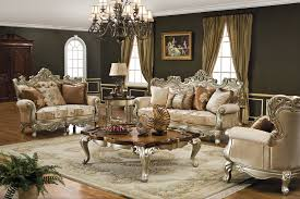 Living Room:Interesting Victorian Style Living Room Design With Luxury Cream  Leather Sofa And Blue