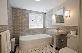 bathroom gray subway tile. Corner Bathtub - Traditional Subway Tile And Gray Idea In New York With Bathroom W