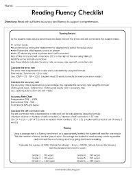 Reading Fluency Checklist Worksheet Have Fun Teaching