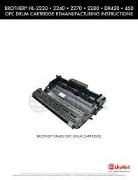 Hl 2230 Toner Light Brother Hl 2230 2240 2270 2280 Dr420 Manualzz Com