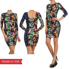 Women Tropical Leaf Print Color Boat Neck Open Back Mini Dress Usa