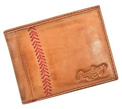 rawlings leather wallet red label baseball stitch bifold glove brown mw485
