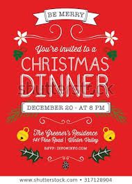 christmas dinner poster christmas dinner invitation flyer on red stock vector royalty free