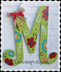 Decorative Door Hangers Monogram Letter Initial Door Decor Door Art Spring