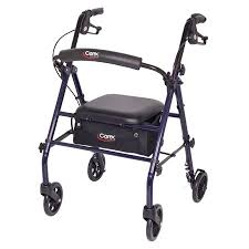 Rollator Comparison Chart Carex Rollator Walker With Padded Seat 6 Wheels Cushioned Back Support And Storage Pouch Navy