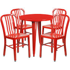 30 round red metal indoor outdoor table set with 4 vertical slat back chairs