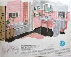 pink retro beachy swan themed bathroom