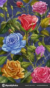 Floral Background Colorful Rose Flowers ...