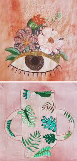 Combine Embroidery Designs Stitched Paintings Combine The Carefree Fluidity Of Washes