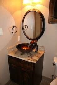 Copper Glass Bowl Sink Brown Marble Vanity Dark Wooden Cabinet Round  Mirror Of Sink Bowls On Top Vanity E59