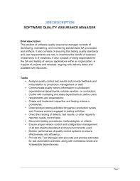 Software Quality Assurance Manager Job Description Template
