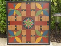 Wooden Parcheesi Board Game 41 Parcheesi Game Board Wood Folk Art Hand Painted Wooden 1