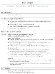 Executive Assistant Career Objective Medical Assistant Experience Resume Objectives For Medical Assistant