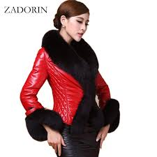 new autumn winter women faux leather jacket with fur collar luxury faux fur coats jackets short embroidery black leather jacket
