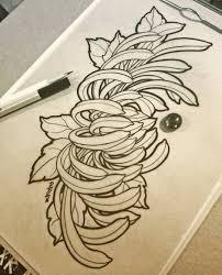 новости женские эскизы эскиз тату иредзуми и хризантемы