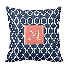 moroccan throw pillows. Navy Blue Moroccan Coral Monogram Pillow Personalized 18x18 Inches Square Polyester Throw Case Decor Cushion Pillows -