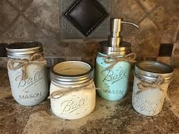 Amazon.com: Ball Mason Jar BATHROOM SET ~Cotton Ball, Soap Dispenser,  Cosmetic Brush Holder ~Canning JARS Hand PAINTED Distressed Pint ~Stainless  Steel ...