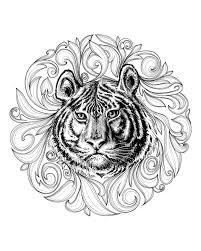 Galerie De Coloriages Gratuits Coloriage Adulte Tigre Cadre