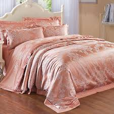 rose gold and silver glitter damask pattern ethnic themed western style upscale jacquard satin full queen size bedding sets