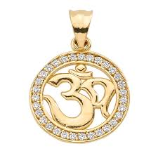 gold boutique cz diamond studded om ohm pendant necklace in 9ct gold