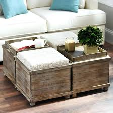 coffee table with nested ottomans table with ottomans underneath extra large