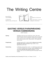 Paraphrasing And Summarizing Apa Version Rev 022012