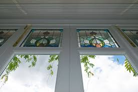stained glass panels on bifold doors