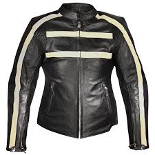 xelement armored womens black leather stripe sdster motorcycle jacket
