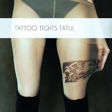 Asian Wave Tattoo Tights Original Hand Painted Drawing On Pantyhose