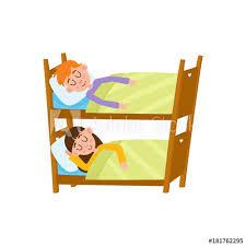 vector flat cartoon children at summer camp concept Girl and boy