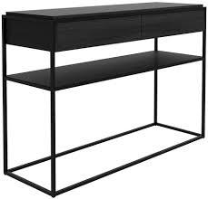 black console table. Monolit Oak Black Console Table - 2 Drawer L