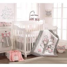 levtex baby night owl pink 5 piece crib bedding set quilt 100 cotton