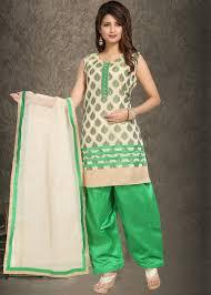 Plain Silk Salwar Kameez Designs Readymade Off White Green Straight Cut Banarasi Silk Salwar Suit