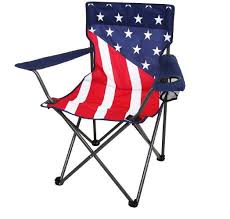 get quotations folding camping chair with cup holder us flag design powder coated rv outdoor hiking seat carry
