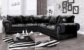 eliza crushed velvet large corner sofa full black high quality sofas at sofas beds uk