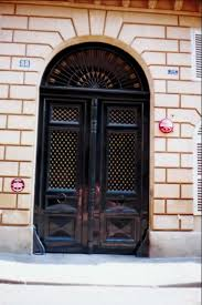 black double front doors. Glossy Black Double Exterior Doors With Fanlight Of Arrows Front A