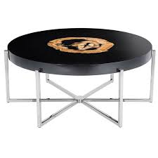 petrified wood round coffee table black gloss and nickel base for