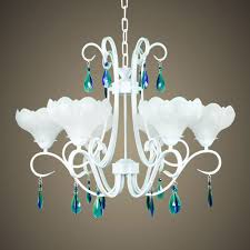 elegant white antique glass chandelier with green blue crystals ornaments full size