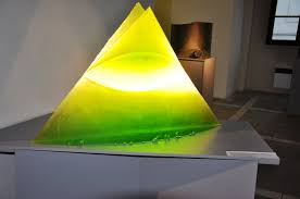 lamps in the shape of a pyramid of uranium glass