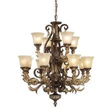 regency twelve light burnt bronze chandelier
