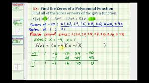ex 6 find the zeros of a degree 4 polynomial function