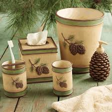 brown and green bathroom accessories. Pinecone Bath Accessories Brown And Green Bathroom A