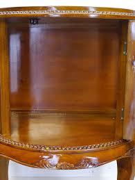 Teeschrank Barschrank Vitrine Antik Stil Massivholz Halbrund Nussbaum 9073