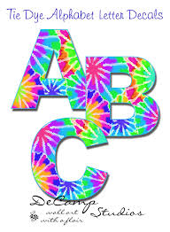 tie dye rainbow alphabet letter wall decal personalize girl name