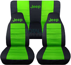 jeep wrangler black and lime green jeep logo seat covers