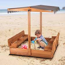 Amazon.com: Kids Large Wooden Sandbox, Outdoor Sand Box Play w/ Canopy, 2  Foldable Bench Seats, Retractable Roof and Sand Protection - 47x47-Inch:  Toys & Games